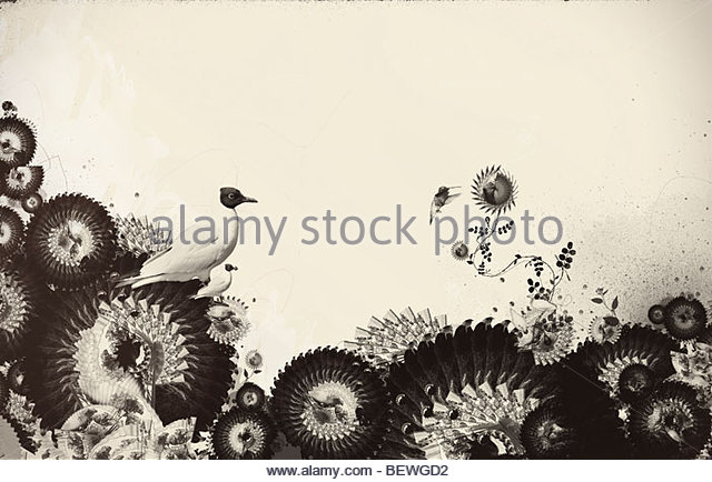 Bird and decorative flowers - Stock Image