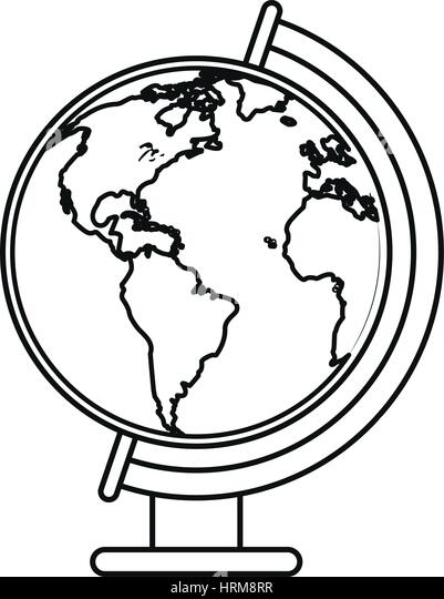 Vintage Globe Line Drawing : Line drawing world map stock photos