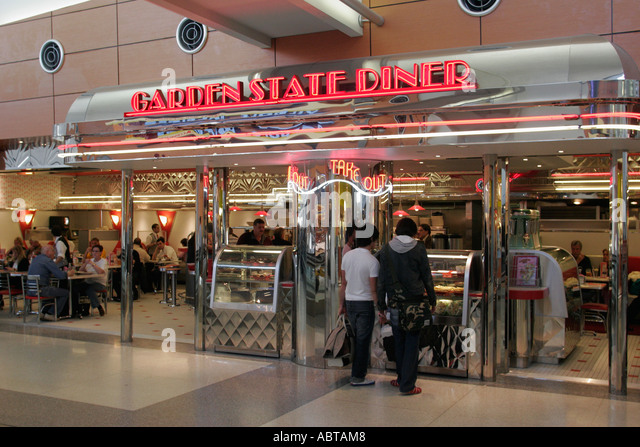 New Jersey Newark Airport Garden State Diner food - Stock Image