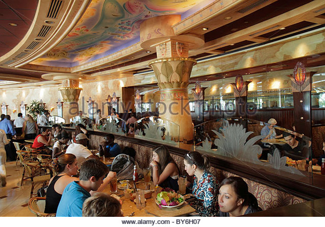 Miami Florida Aventura Aventura Mall Cheesecake Factory restaurant interior tables diners - Stock Image