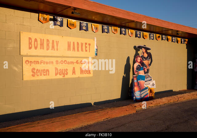 Outside a variety store in Bombay Beach on the Salton Sea, California USA - Stock Image