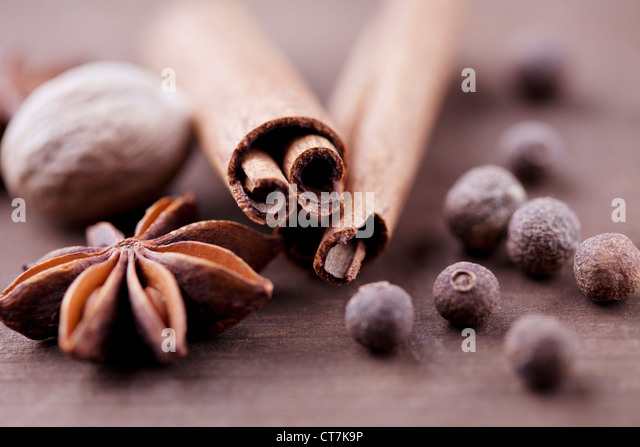 closeup of cinnamon,allspice,anish star and nutmeg - Stock Image