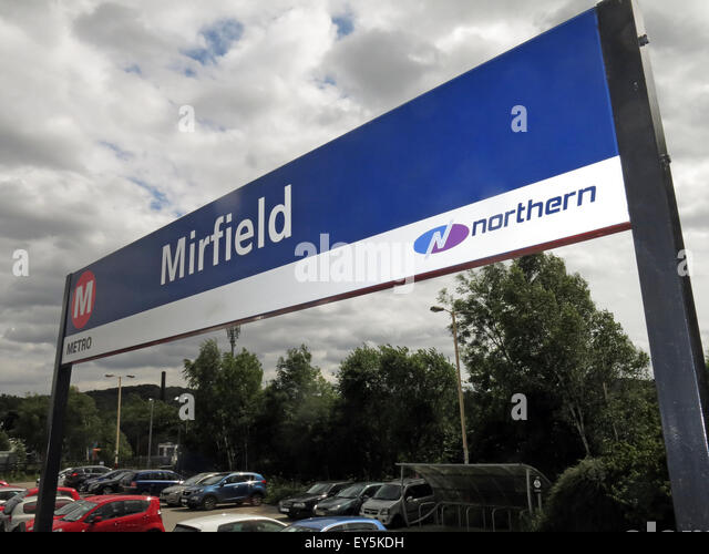 Mirfield railway station sign,maintained by Northern rail, West Yorkshire Metro, England, UK - Stock Image