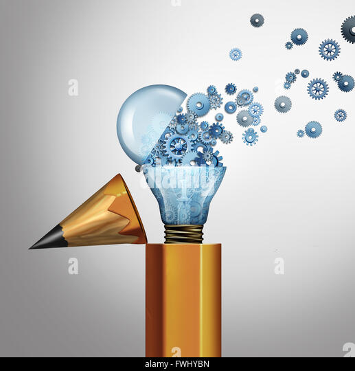 Planning and imagination success business concept as an open pencil with an open light bulb spreading gears and - Stock-Bilder