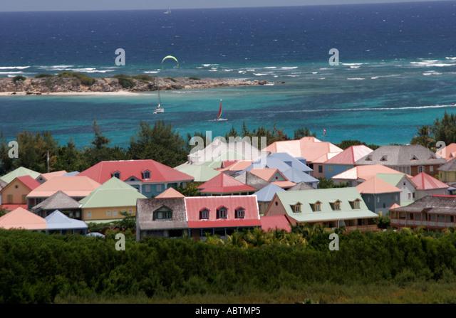 Saint Martin French Atlantic Ocean Village de Grand Case houses apartments - Stock Image