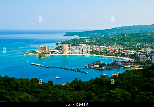 Aerial overview of the city of Ocho Rios showing hotels and beach Ocho Rios Jamaica - Stock Image
