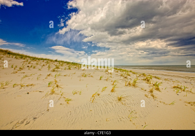 Storm moving in over sand dunes, Island Beach State Park, New Jersey, United States - Stock Image