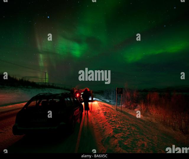 Aurora Borealis or Northern Lights, Lapland, Sweden - Stock Image