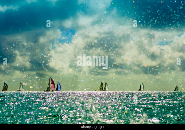 Sailing, Key West Sailing Race. About 140 boats  in a dozen classes from US, Canada, UK, Canada, Euorpean Countrys. - Stock Image