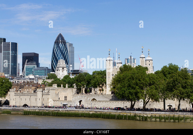 Tower of London, River Thames skyline, London, England, UK - Stock Image