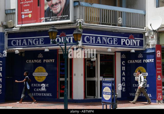 Saint Martin French Marigot Rue Charles de Gualle duty free shopping money exchange - Stock Image
