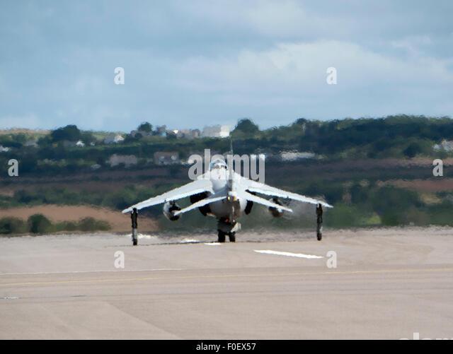 Sea Harrier taxiing at Culdrose Cornwall UK - Stock Image