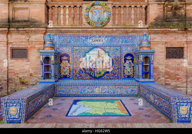 Glazed tiles bench of spanish province of Zamora at Plaza de Espana, Seville, Spain - Stock Image