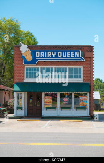 A Dairy Queen ice cream shop in an old brick building in Andalusia, Alabama, United States. - Stock Image