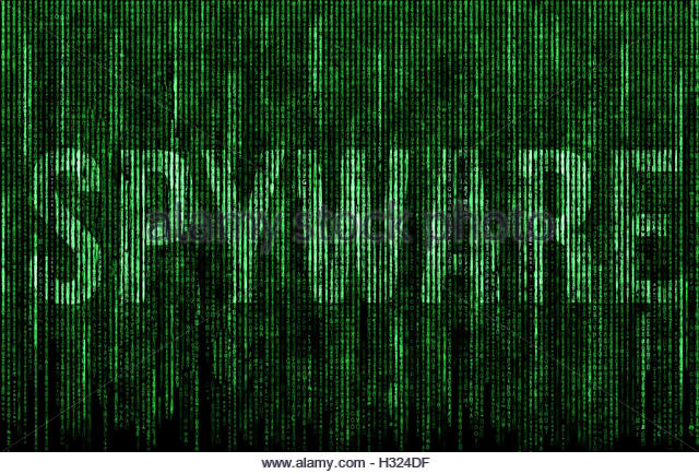 Spyware digital matrix illustration - Stock Image