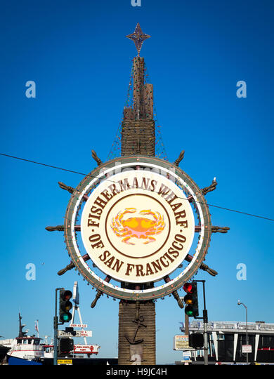 A view of the famous Fisherman's Wharf sign in San Francisco, California. - Stock Image