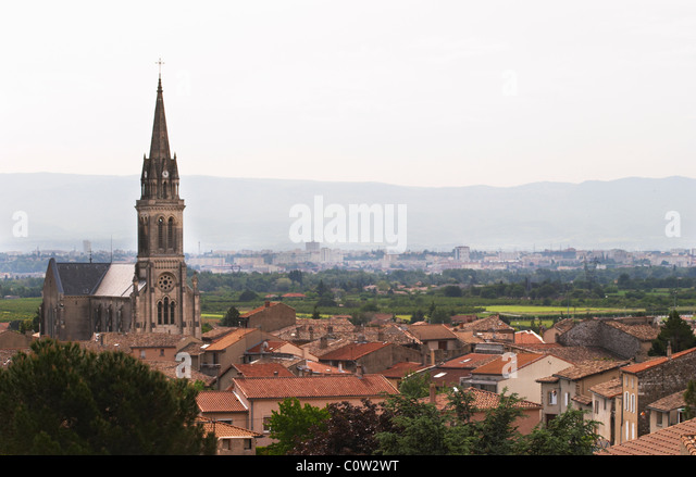 church and village cornas rhone france - Stock Image