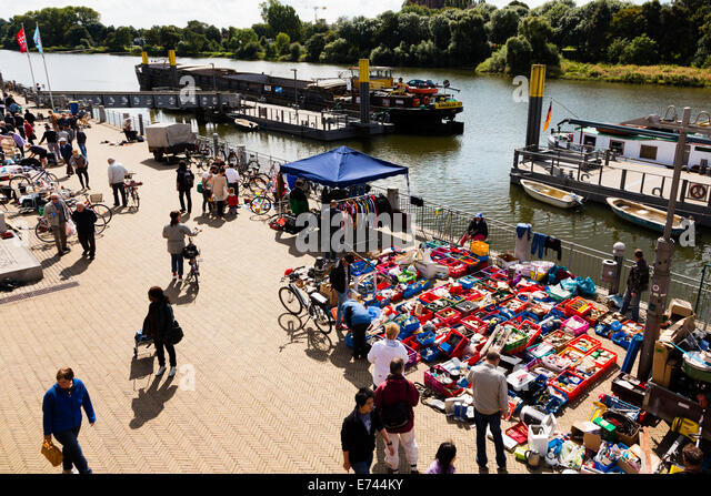 open air second hand market on the banks of the River Wesser at Bremen, Germany - Stock Image