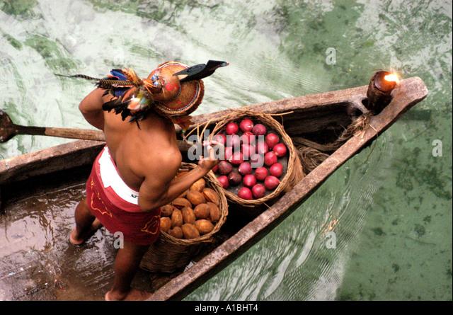 Mexico xcaret theme park maya canoe - Stock Image