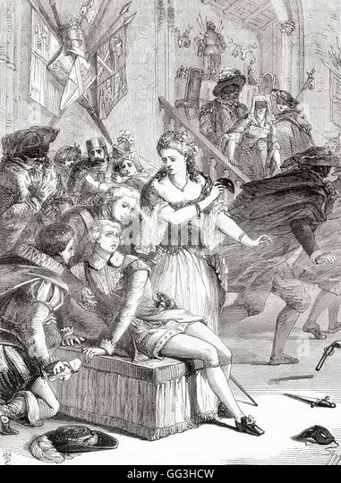 The assassination of Gustavus III by Anckarström at a masked ball at the Royal Opera House, Stockholm, Sweden, - Stock Image