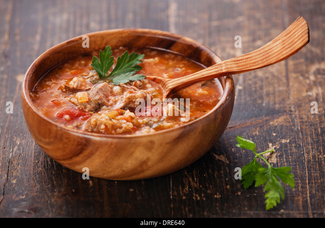 Kharcho soup with meat and rice - Stock Image