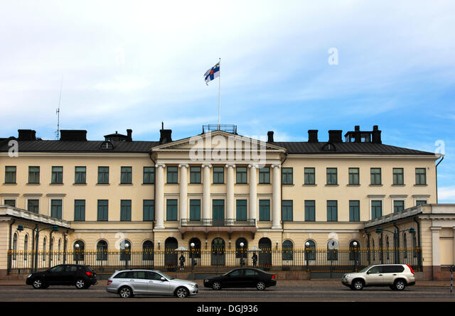 Presidential Palace with the national flag, Helsinki, Finland, Europe - Stock Image