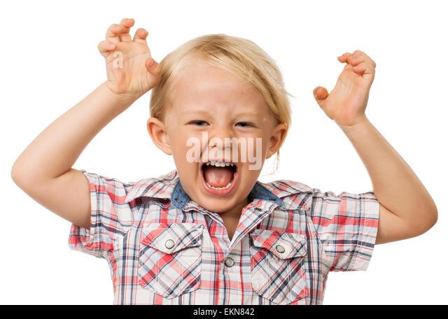 Hyperactive young boy - Stock Image