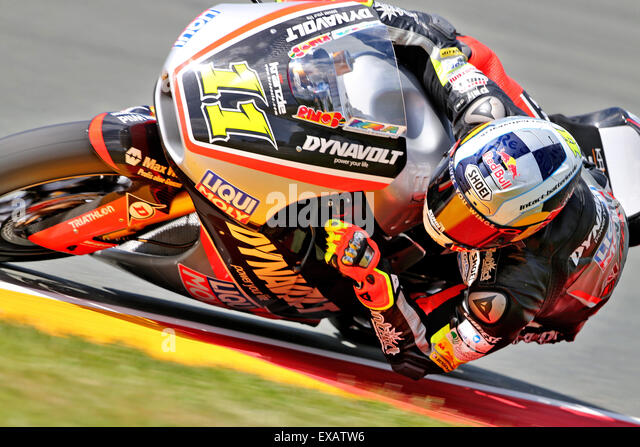 Hohenstein-Ernstthal, Germany. 10th July, 2015. German Moto2 rider Sandro Cortese of Team Dynavolt Intact GP in - Stock-Bilder