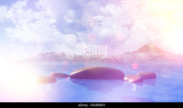 3D render of smooth rocks in the sea against a blue cloudy sky mountains in the background with retro effect - Stock Image