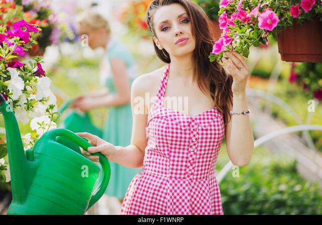 Fantastic brunette cutie in the summer garden - Stock-Bilder
