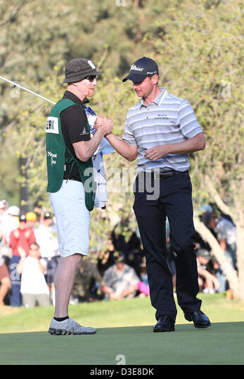 Feb. 17, 2013 - Pacific Palisades, California, U.S. - 02/17/13 Pacific Palisades, CA: John Merrick and caddie Ryan - Stock Image