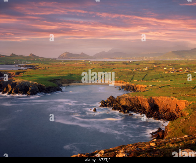 IE - CO. KERRY:  Ballyferriter Bay on Dingle Peninsula seen from Clougher Head - Stock Image