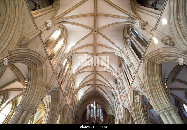 The ceiling and interior of Southwell Minister. - Stock Image
