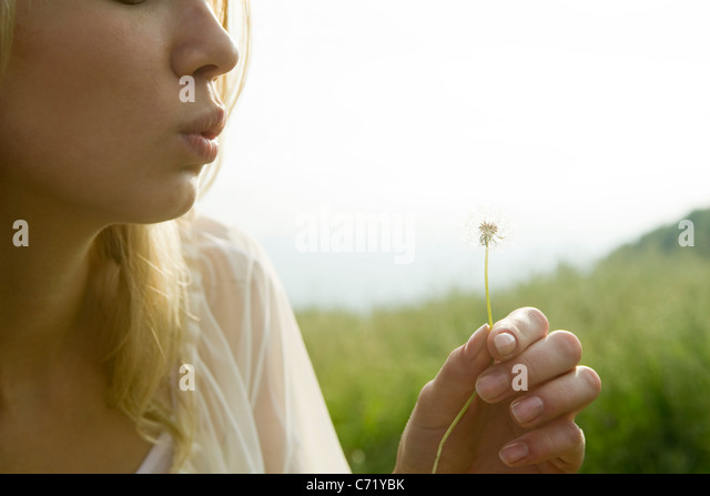 Young woman blowing dandelion seedhead - Stock Image