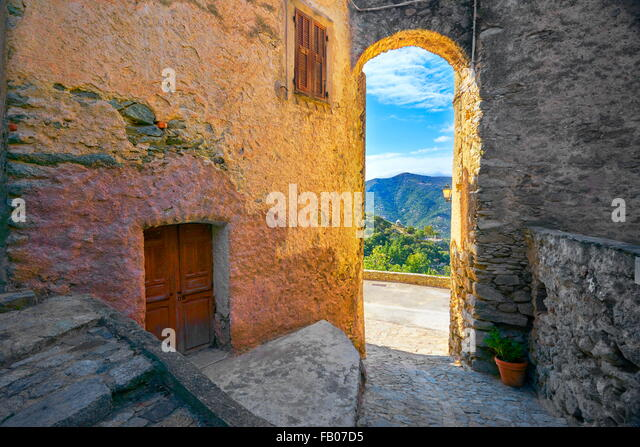 Lama, small mountain village, Balagne, West Coast, Corsica Island, France - Stock Image