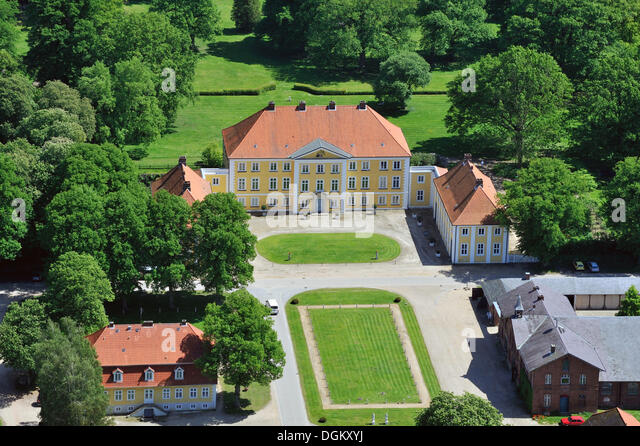 Aerial view, Gut Wotersen manor, Roseburg, Schleswig-Holstein, Germany - Stock Image