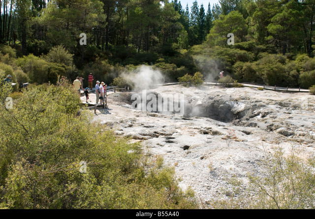 Geothermal vent at the Wai-O-Tapu thermal area, near Rotorua, North Island, New Zealand - Stock Image