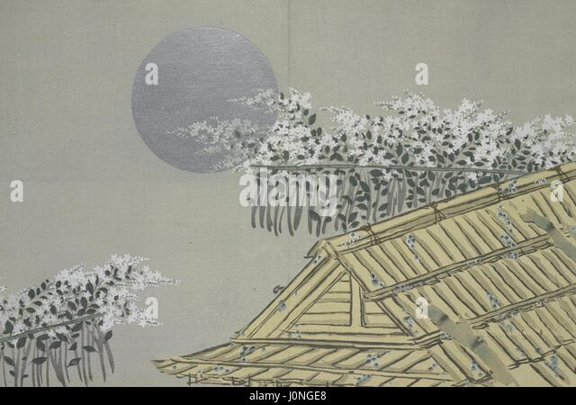 Japanese woodcut of a traditional bamboo house, flowers, and the moon from the book Momoyogusa; Flowers of a Hundred - Stock Image