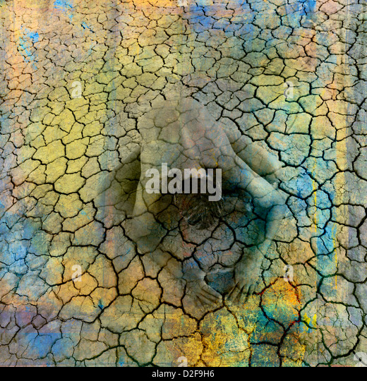 Female figure being in cracked earth. Photo based illustration. - Stock Image