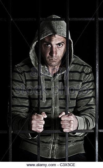 man in prison - Stock Image