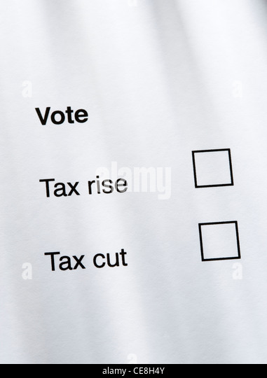 Tax rise or tax cut concept. - Stock-Bilder