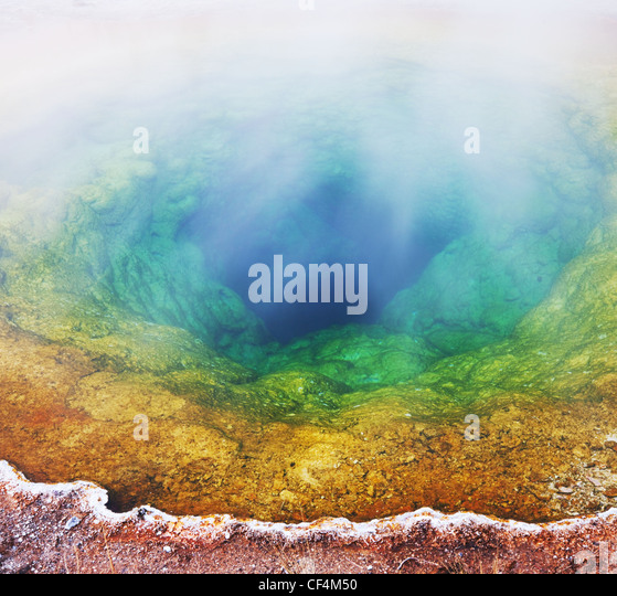 Morning Glory Pool in Yellowstone National Park,USA - Stock Image
