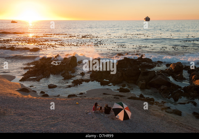 Beach, Sea Point, Cape Town, South Africa - Stock Image