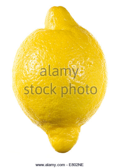Yellow ripe lemon isolated on a white - Stock Image