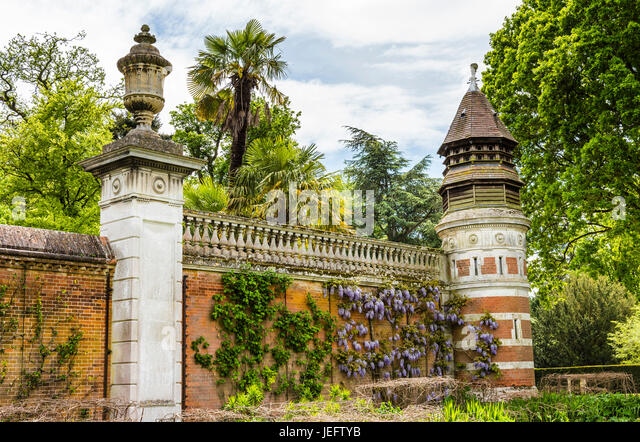 Dovecote and walls in the gardens at Cliveden, Buckinghamshire, UK - Stock Image