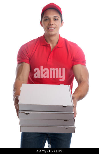 Pizza delivery man order delivering job young isolated on a white background - Stock Image