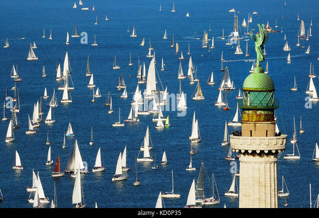 Trieste, Italy. 8th October, 2017. The 49th edition of the famous sailing-race 'Barcolana' takes place on - Stock Image
