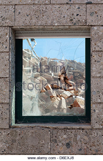 Demolition site building destruction window broken - Stock Image