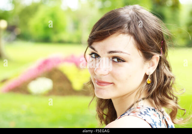 Portrait of a woman smiling - Stock Image