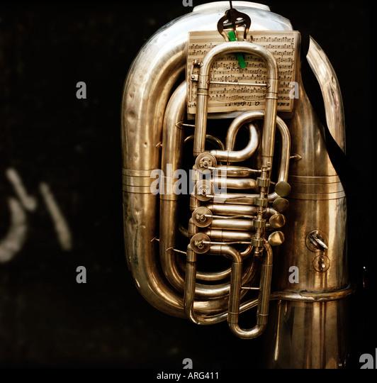 brass tuba with music score - Stock-Bilder